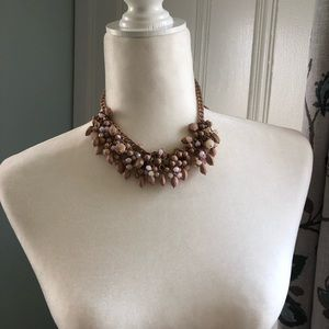 Pink purple and iridescent beaded chain necklace